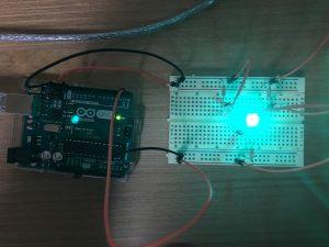 Green LED lights on