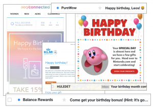 An image of multiple emails and their contents that offer birthday discounts