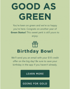 A Sweetgreen marketing email promising a discounted salad in exchange for my birthday.